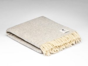 McNutt Gray Cloud Herringbone Blanket Throw