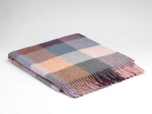 McNutt Rose Dust Check Alpaca Blanket Throw
