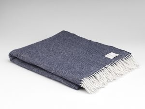McNutt Navy Herringbone Blanket Throw