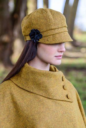 Mucros Ladies Mustard Newsboy Cap