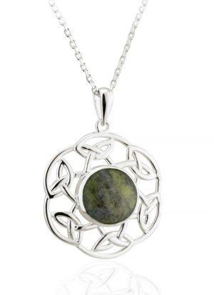 Solvar Sterling Silver Connemara Marble Open Celtic Pendant