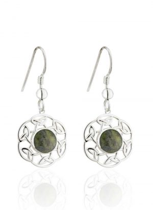 Solvar Connemara Marble Open Celtic Drop Earrings