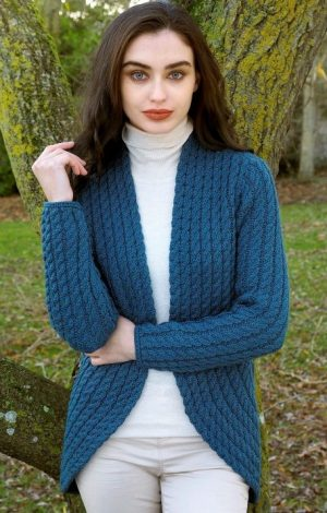 Ladies Teal Cable Knit Aran Bolero Cardigan