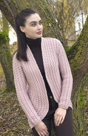 Ladies Pink Cable Knit Aran Bolero Cardigan