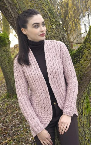 Ladies Pink Cable Knit Aran Bolero Cardigan