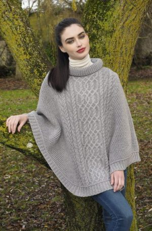 Super Soft Ribbed Aran Poncho