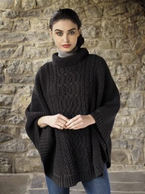 Super Soft Charcoal Ribbed Aran Poncho