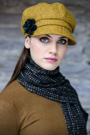 Mucros Ladies Mustard Newsboy Cap