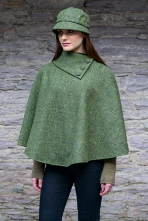 Green Herringbone Mucros Irish Poncho
