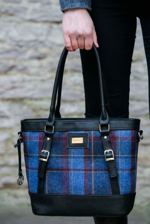 Mucros Blue Red Check Kelly bag