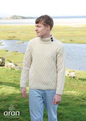 Aran Merino Wool Button Collar Sweater