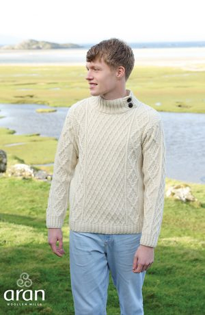 Aran Merino Wool Button Collar Sweater