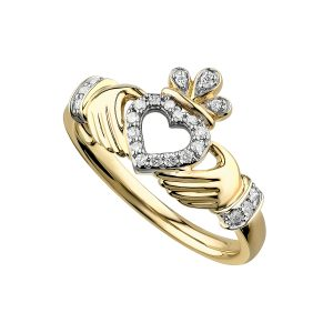 Solvar Gold Diamond Claddagh Ring