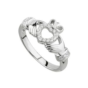 Solvar Silver Open Heart Claddagh Ring