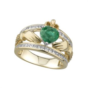 Solvar 14k Emerald Diamond Three Row Claddagh Ring