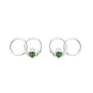 Solvar Silver Green Claddagh Earrings