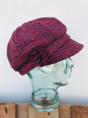 John Hanly Ladies Red Newsboy Hat