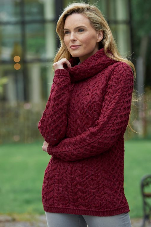 Ladies Fuchsia Cable Knit Cowl Neck Sweater