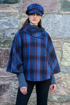 Mucros Plaid Check Poncho