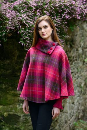 Mucros Pink Check Poncho