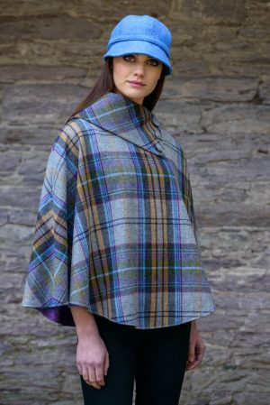 Mucros Gray Check Poncho