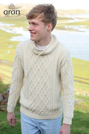 Aran Merino Wool Collared Sweater