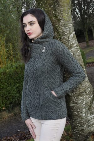 Aran Green Heart Hooded Cardigan