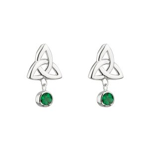 Solvar Green Trinity Knot Earrings