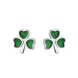 Solvar Silver Green Shamrock Earrings