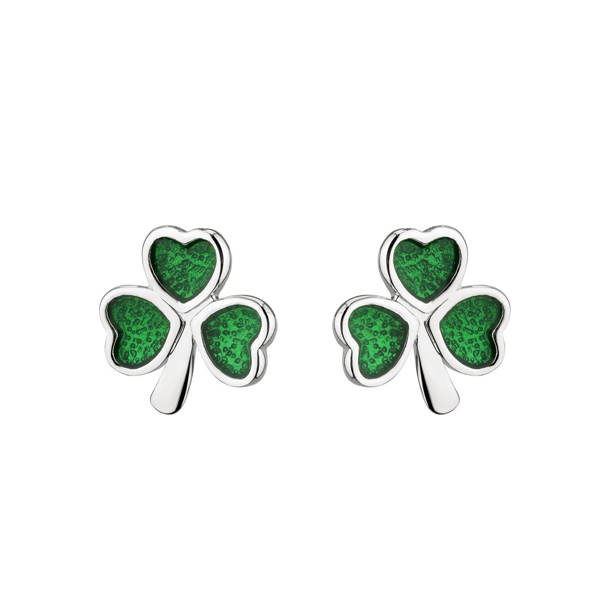 3d9750e5d Solvar Silver Green Shamrock Earrings - Skellig Gift Store