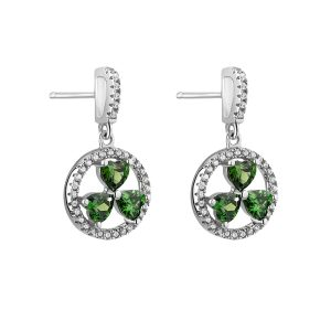 Solvar Green Shamrock Drop Earrings