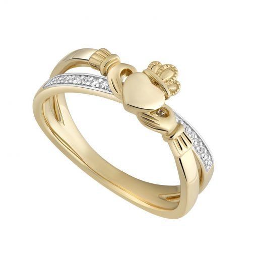 Solvar Gold Diamond Claddagh Kiss Ring