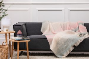 Foxford Gray Cream Mohair Blanket 4258/c3