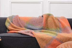 Foxford Orange Green Mohair Blanket 4257/c3