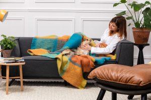 Foxford Mustard Orange Mohair Blanket 4257/b2