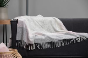 Foxford Pink Grey Herringbone Throw