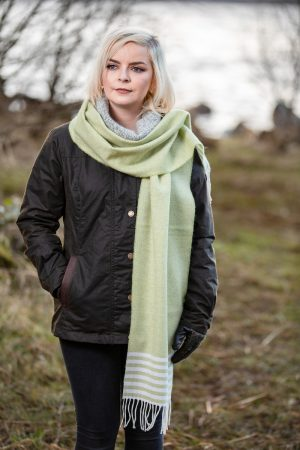 Lambswool Foxford Lime Green Scarf 4268/a1