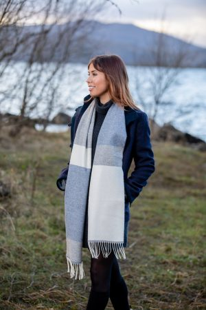 Foxford Lambswool Blue Grey Scarf