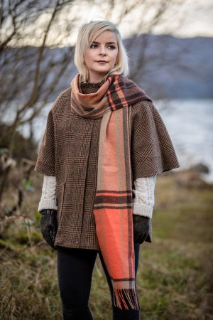 Foxford Lambswool Orange Check Scarf