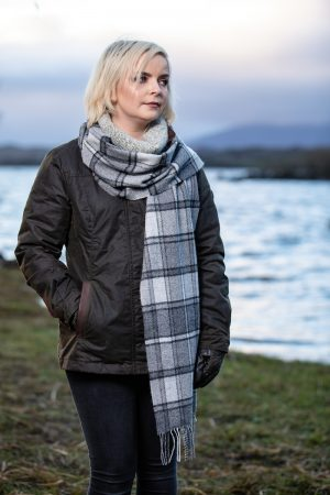 Foxford Lambswool Grey Check Scarf