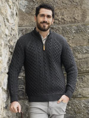 Men's Aran Super Soft 1/2 Zip Sweater
