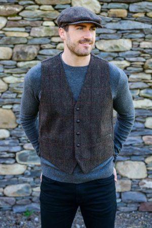 Mucros Brown Herringbone Waistcoat