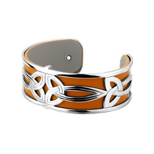 Solvar Trinity Leather Silver Bangle