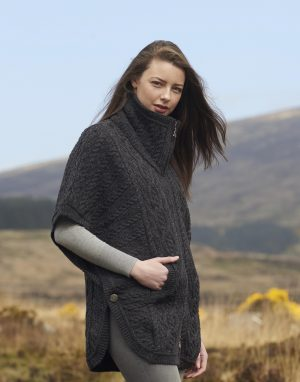 Aran Crafts Charcoal Funnel Neck Cardigan