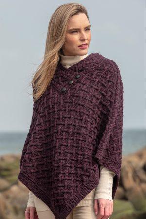 Aran Crafts Plum Wool Poncho