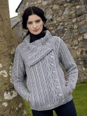 Aran Crafts Grey Collar Plated Jacket