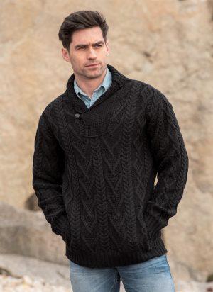Mens Aran Black Sweater