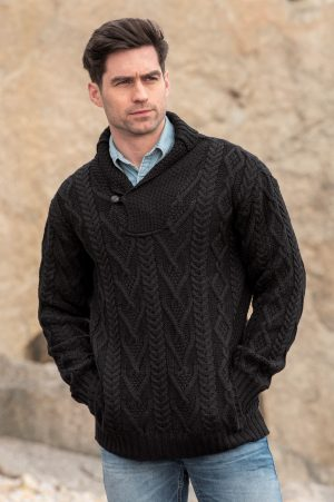Mens Aran Black Sweater