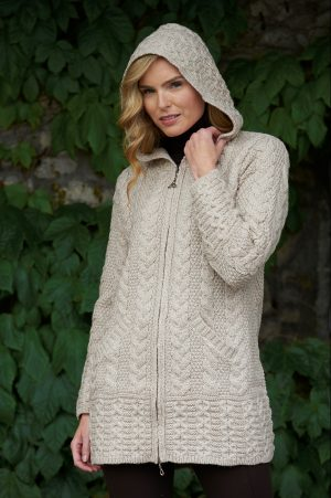 Hooded Parsnip Aran Coat Celtic Knot Zipper