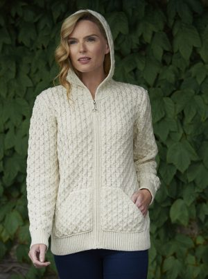 Aran Crafts Honeycomb Hooded Cardigan